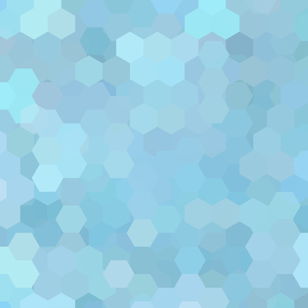 Background made of pastel blue hexagons. Square composition with geometric shapes.