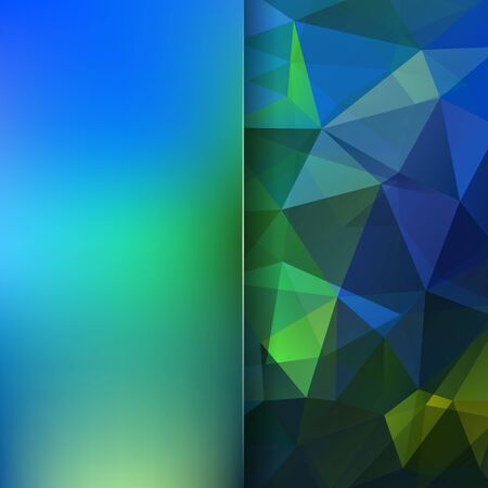 Background made of green, blue triangles. Square composition with geometric shapes and blur element.