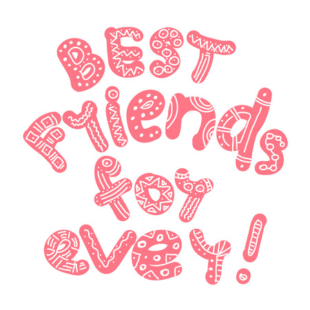 Best friends ever hand draw lettering. Vectores