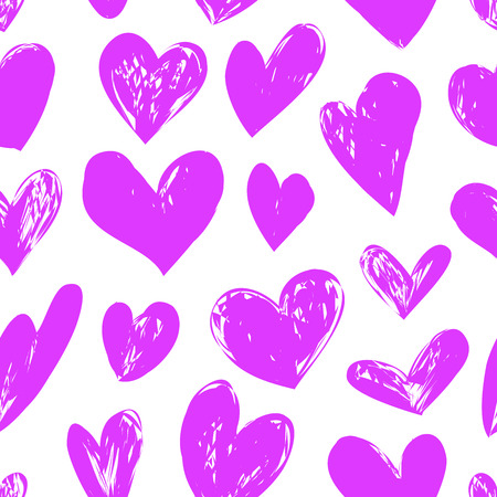 ハート付きシームレスなピンクパターン、ベクトルイラスト  イラスト・ベクター素材