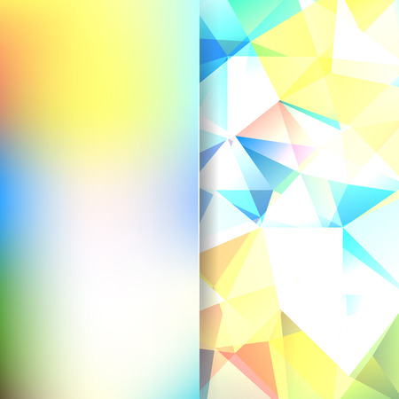 Background of yellow, white, blue, orange geometric shapes. Blur background with glass. Colorful mosaic pattern. Vector EPS 10. Vector illustration Illustration