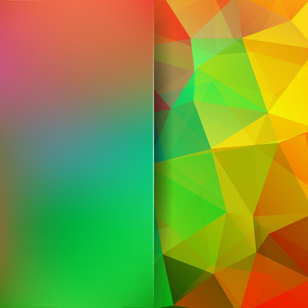 Geometric pattern, polygon triangles vector background in green, yellow, red tones. Blur background with glass. Illustration pattern Ilustrace