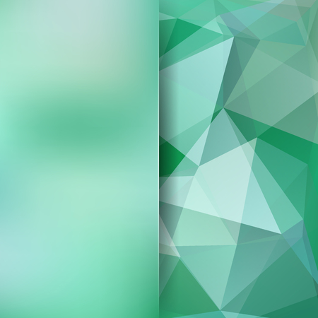 Geometric pattern, polygon triangles vector background in green and gray tones. Blur background with glass. Illustration pattern