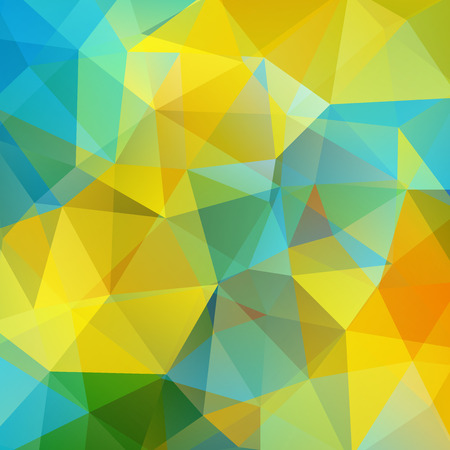 Abstract geometric style background. Yellow, blue, green, orange colors. Vector illustration