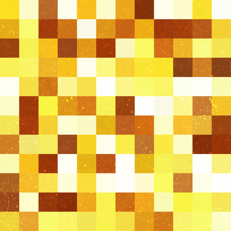 Seamless geometric checked pattern. Ideal for printing onto fabric and paper or decoration. Yellow, brown, beige colors.  イラスト・ベクター素材