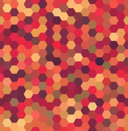 Vector background with orange, red, beige hexagons. Can be used for printing onto fabric and paper or decoration. Illustration