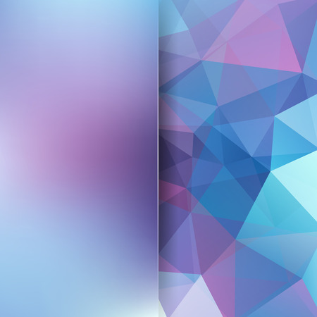 Abstract geometric style background. Blur background with glass. Vector illustration. Blue, pink colors.