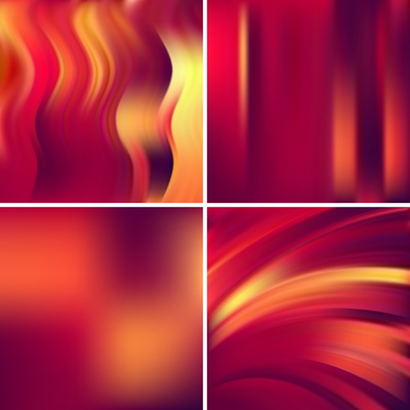 Set of 4 square blurred backgrounds. Vector illustration. Red, orange colors.