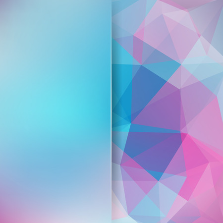 Abstract geometric style pastel background. Blue, pink colors. Blur background with glass. Vector illustration