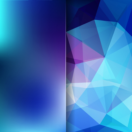 Geometric pattern, polygon triangles vector background in blue and purple tones. Blur background with glass. Illustration pattern