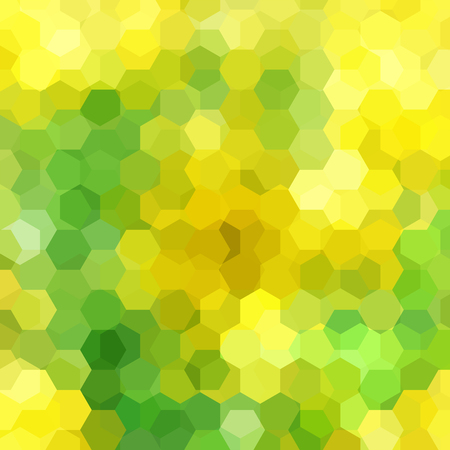 Geometric pattern, vector background with hexagons in yellow and green tones. Illustration pattern  イラスト・ベクター素材