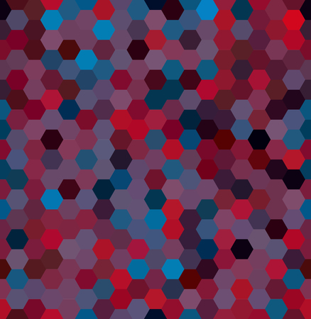 A Vector background with red, purple, blue hexagons. Can be used for printing onto fabric and paper or decoration.