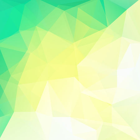 Background made of green, yellow, white triangles. Square composition with geometric shapes.
