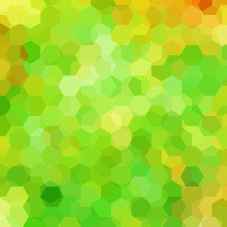Vector background with yellow, green hexagons. Can be used in cover design, book design, website background. Vector illustration
