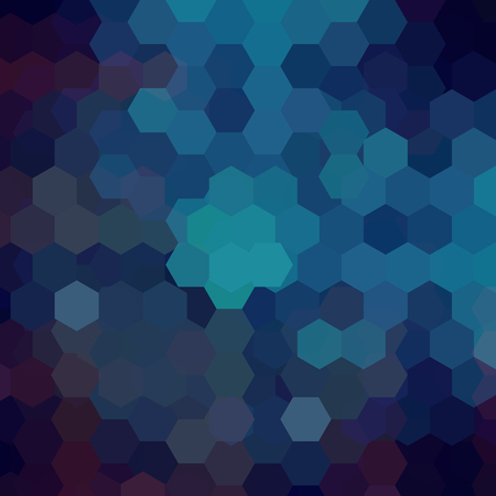 Background made of dark blue hexagons. Square composition with geometric shapes. Illustration