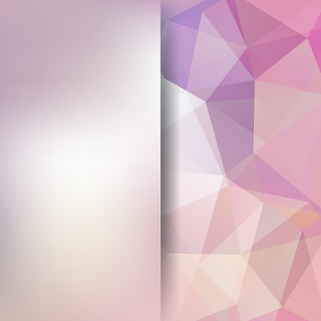 Geometric pattern, polygon triangles vector background in white, pink tones. Blur background with glass. Illustration pattern