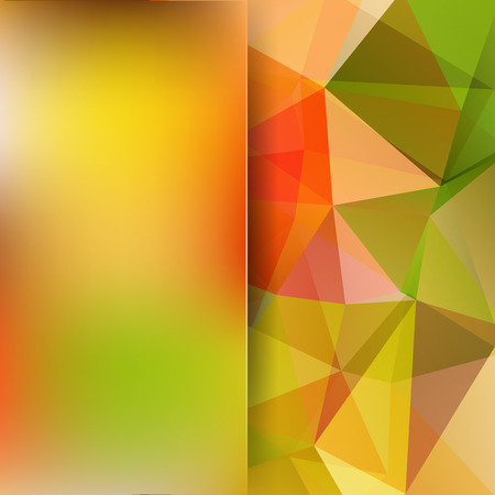 Abstract mosaic background. Blur background. Triangle geometric background. Design elements. Vector illustration. Yellow, green, orange colors. Illustration