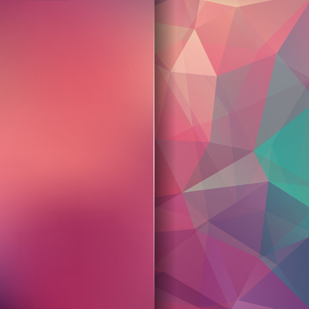 Geometric pattern, polygon triangles vector background in pink, orange, green tones. Blur background with glass. Illustration pattern Illusztráció
