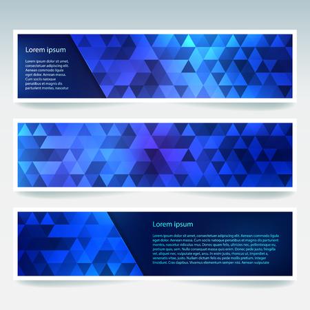 Banners horizontales con triángulos poligonales azul oscuro. Fondo de polígono, ilustración vectorial