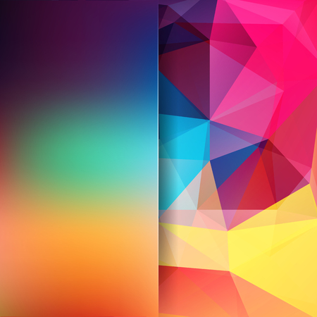 Abstract geometric style colorful background. Blur background with glass. Vector illustration