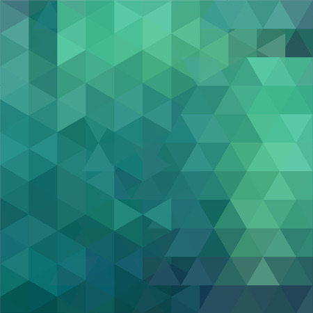 Background of green, blue geometric shapes. Abstract triangle geometrical background. Mosaic pattern. Vector illustration