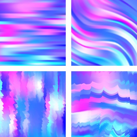 Set with abstract blurred backgrounds. Vector illustration. Modern geometrical backdrop. Abstract template. Pink, blue colors. Ilustração
