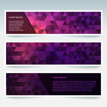 Set of banner templates with abstract background. Modern vector banners with polygonal background. Pink, purple colors. Ilustração