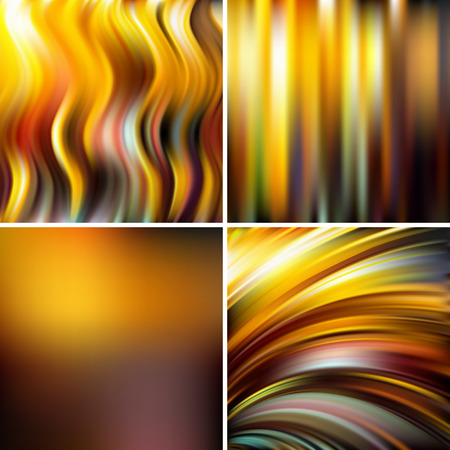 Set of 4 square blurred backgrounds. Vector illustration. Yellow, brown, beige colors.