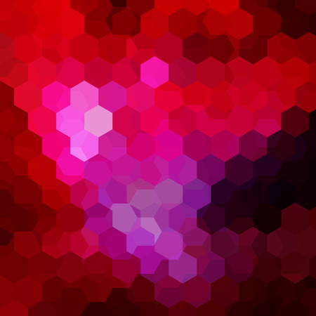 Background made of red hexagons. Square composition with geometric shapes.