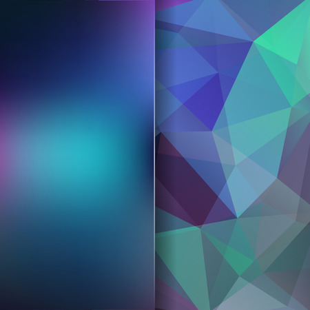 Background made of green, blue triangles. Square composition with geometric shapes and blur element. Stock Photo