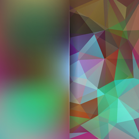 Background made of green, brown triangles. Square composition with geometric shapes and blur element.