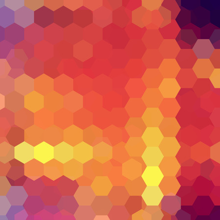 Vector background with yellow, orange, purple hexagons. Can be used in cover design, book design, website background. Vector illustration Illustration