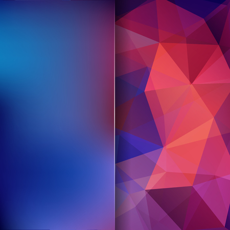 Abstract mosaic background. Blur background. Triangle geometric background. Design elements. Vector illustration. Red, orange, blue Ilustrace