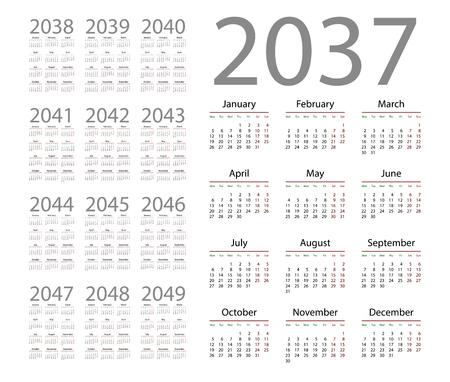 Simple calendar 2037 on white background. Vector illustration