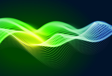 Abstract colorful digital landscape with flowing particles. Cyber or technology background. Green, yellow, blue colors. Foto de archivo - 113066541