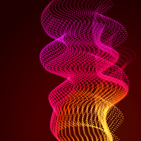 Abstract colorful digital landscape with flowing particles. Cyber or technology background. Red, pink, orange colors. Stock Photo