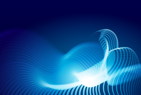 Abstract blue digital landscape with flowing particles. Cyber or technology background. Stock Photo