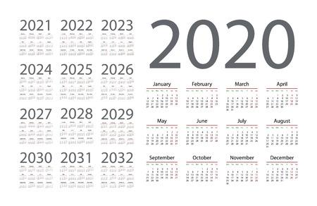 Calendrier simple 2020 sur fond blanc. Illustration vectorielle Vecteurs