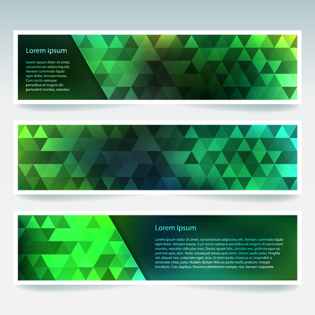 Horizontal banners set with green polygonal triangles. Polygon background, vector illustration