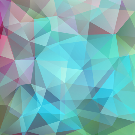 Background made of pastel green, blue, pink triangles. Square composition with geometric shapes. Çizim