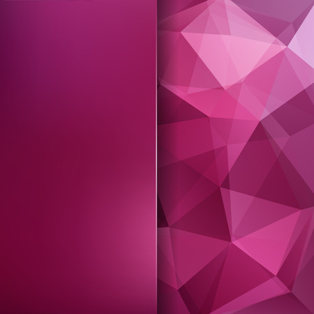 Background of pink geometric shapes. Blur background with glass. Colorful mosaic pattern. Vector illustration