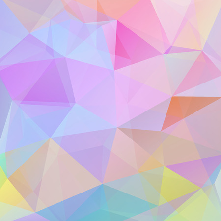 Polygonal vector background. Can be used in cover design, book design, website background. Vector illustration. Pastel pink, blue, yellow colors.