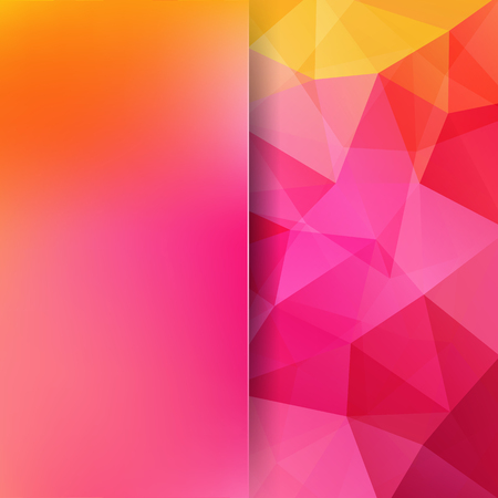 Background of pink, orange geometric shapes. Blur background with glass. Colorful mosaic pattern.  Vector illustration