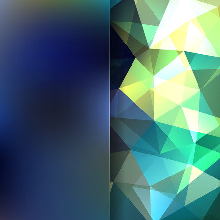 Background of green, blue, dark, geometric shapes. Blur background with glass. Colorful mosaic pattern. Vector illustration