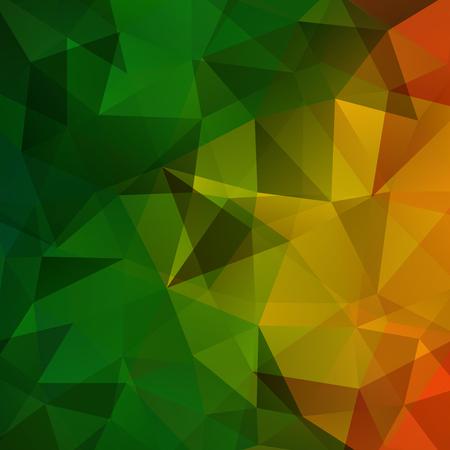 Geometric pattern, polygon triangles vector background in green, orange, yellow tones. Illustration pattern