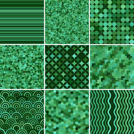 Zestaw z dziewięcioma zielonymi bezszwowymi abstrakcyjnymi wzorami geometrycznymi, ilustracji wektorowych