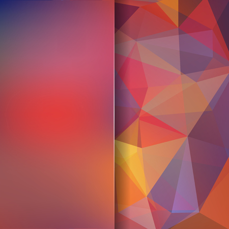 Background made of pink, orange, purple triangles. Square composition with geometric shapes and blur element.