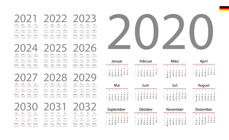 German Calendar for 2020. Week starts on Monday Stock Illustratie
