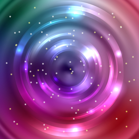 Vector round frame. Shining circle banner. Vector design. Glowing spiral. Pink, purple, blue, green colors.