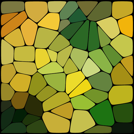 Abstract mosaic pattern. Abstract background consisting of elements of different shapes arranged in a mosaic style. Vector illustration. Green, yellow colors.